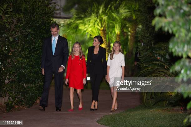 Spanish King Felipe VI and his wife Queen Letizia arrive with their daughters Princess Leonor and her sister Sofia to attend the Princess of Girona...