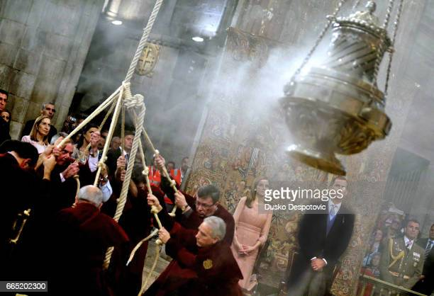 Spanish King Felipe VI and Queen Letizia attends to the traditional ceremony of Santiago's apostle tribute held at the Santiago Compostela cathedreal...