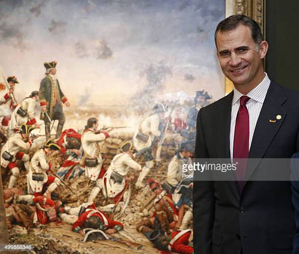 Spanish King Felipe VI attends the exhibition 'Bernardo de Galvez and the presence of Spain in Mexico and the United States' held at America House of...