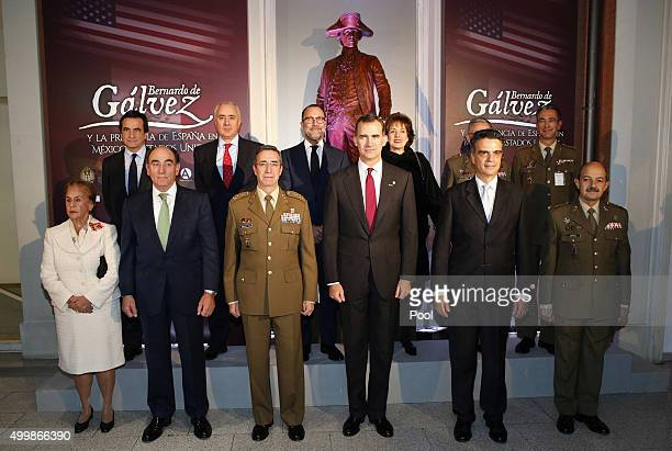 Spanish King Felipe VI attends the exhibition 'Bernardo de Galvez and the presence of Spain in Mexico and the United States' with dignitaries...