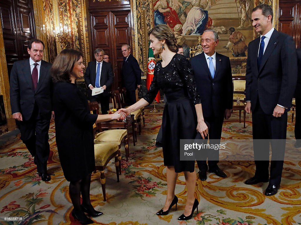 Spanish Royals Receives Portugal President : News Photo