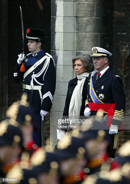 Spanish King Juan Carlos and Queen Sofia leave the funeral of Dutch Prince Bernhard on December 11 2004 in Delft The Netherlands The prince died at...
