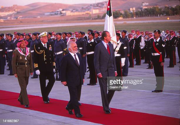 Spanish King Juan Carlos during his visit to Jordan is received by King Hussein Amman Jordan