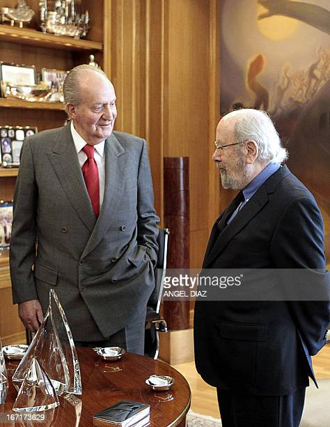 Spanish King Juan Carlos meets with the winner of the 2013 Literature Premio Cervantes award Jose Manuel Caballero Bonald at his office in Madrid on...