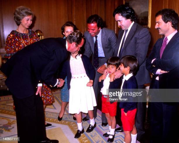 Spanish King Juan Carlos receive the singer Julio Iglesias and family at the Zarzuela Palace Madrid Spain
