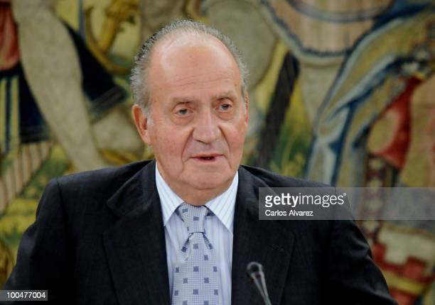 Spanish King Juan Carlos receives Pro Royal Spanish Academy Foundation at The Palace of Zarzuela on May 24 2010 in Madrid Spain