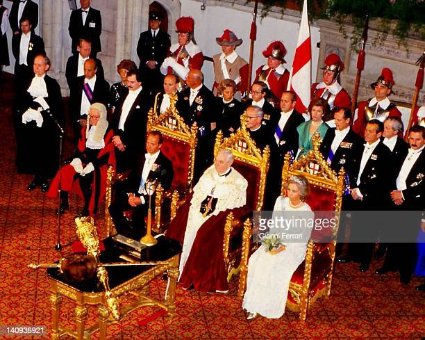 Spanish Kings Juan Carlos and Queen Sofia attend the reception at the Guildhall hosted by the Lord Mayor of London 25th April 1968 London England...