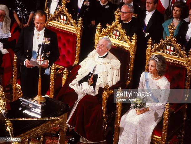 Spanish Kings Juan Carlos and Queen Sofia attend the reception at the Guildhall hosted by the Lord Mayor of London 25th April 1968 London England