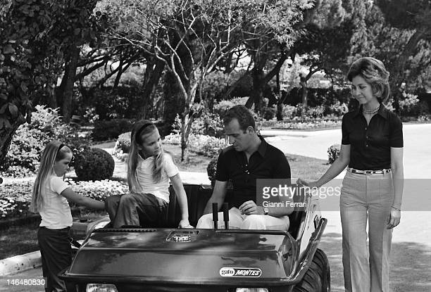 Spanish Kings Juan Carlos and Sofia with their two daughters Cristina and Elena in the gardens of the 'Palacio de la Zarzuela ' 15th May 1973 Madrid...