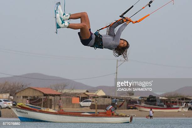 Spanish kitesurf world champion Gisela Pulido competes in the Free Style Kitesurfing competition of the Third Kite Addict Colombia tournament in Cabo...
