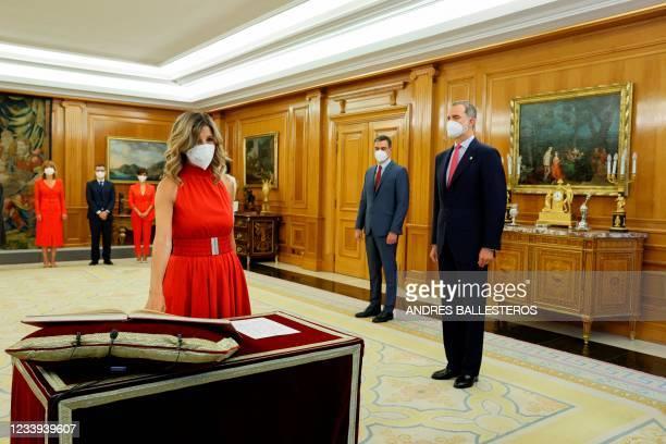 Spanish Labor Minister Yolanda Diaz swears in as Second Deputy Prime Minister to have both posts next to Spain's King Felipe VI and Spanish Prime...