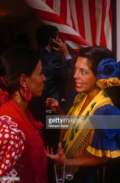 Spanish ladies party at a private party in a marquee called a Caseta during the annual Feria de Abril on 11th June 1999 in Seville Andalucia Spain...