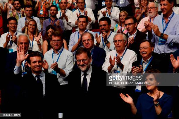 Spanish lawmaker Pablo Casado celebrates after winning a Popular Party election to succeed former Spanish prime minister and outgoing PP leader...