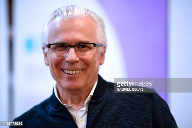 Spanish lawyer Baltasar Garzon defence coordinator of the Australian editor of WikiLeaks Julian Assange smiles during a meeting with journalists in...