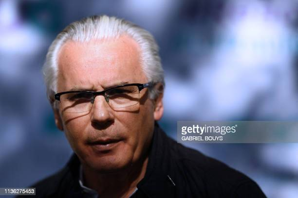 Spanish lawyer Baltasar Garzon, defence coordinator of the Australian editor of WikiLeaks, Julian Assange, attends a meeting with journalists in...