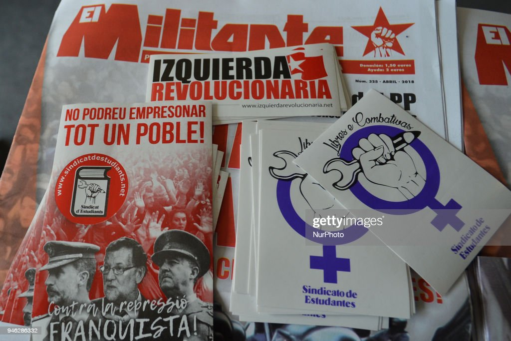 Spanish left and comunist movements leaflets seen during a Rally for Equality, Freedom & Choice organised by ROSA - an Irish Socialist Feminist Movement at Liberty Hall in Dublin. On Saturday, April 14, 2018, in Dublin, Ireland.