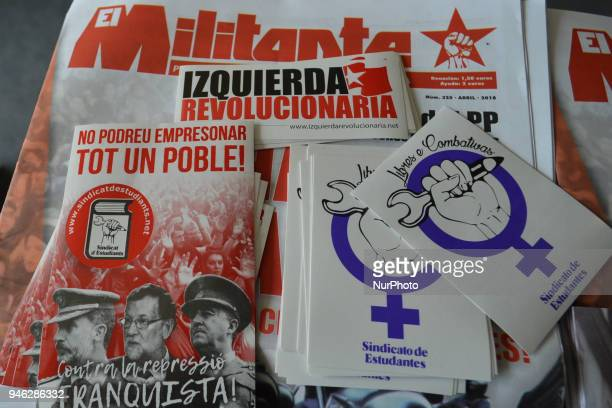 Spanish left and comunist movements leaflets seen during a Rally for Equality Freedom amp Choice organised by ROSA an Irish Socialist Feminist...