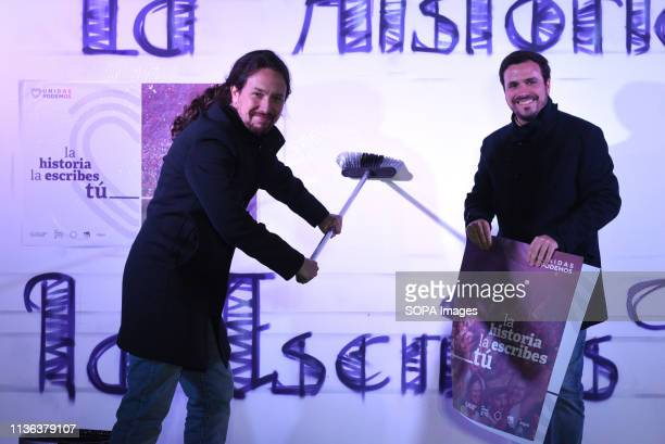 Spanish leftwing Podemos party leader and presidential candidate for the wingleft Unidas Podemos coalition Pablo Iglesias and the general coordinator...