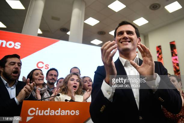 Spanish liberal Ciudadanos party leader and candidate for prime minister Albert Rivera acknowledges applause after announcing his resignation as...