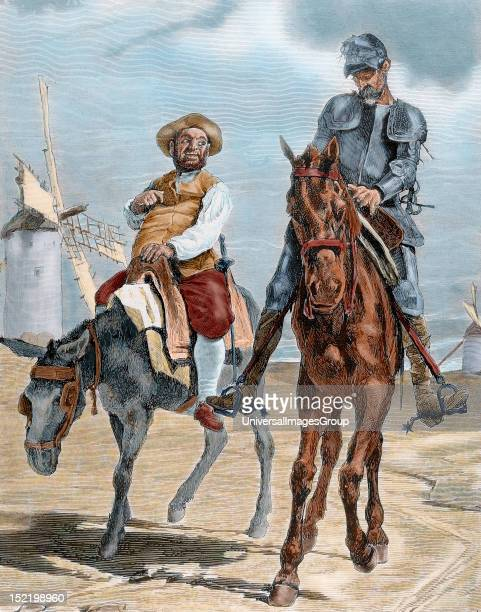Spanish literature 'The Ingenious Hidalgo Don Quixote of La Mancha' written by Miguel de Cervantes Saavedra Conversations between Don Quixote and...