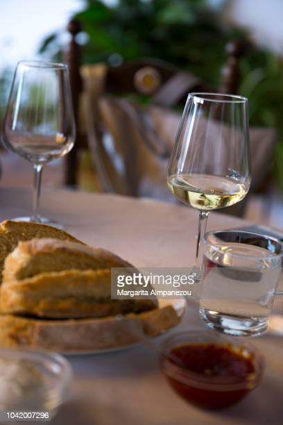 Spanish Local Meal: homemade bread and tomato jam with white wine