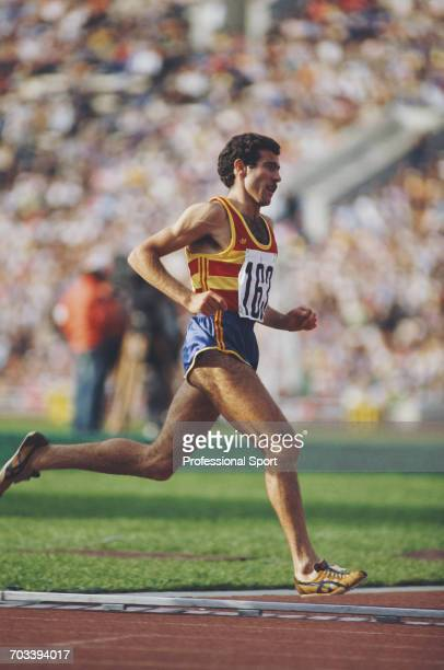 Spanish long distance athlete Francisco Sanchez of the Spain team competes to finish in 5th place in the final of the Men's 3000 metres steeplechase...
