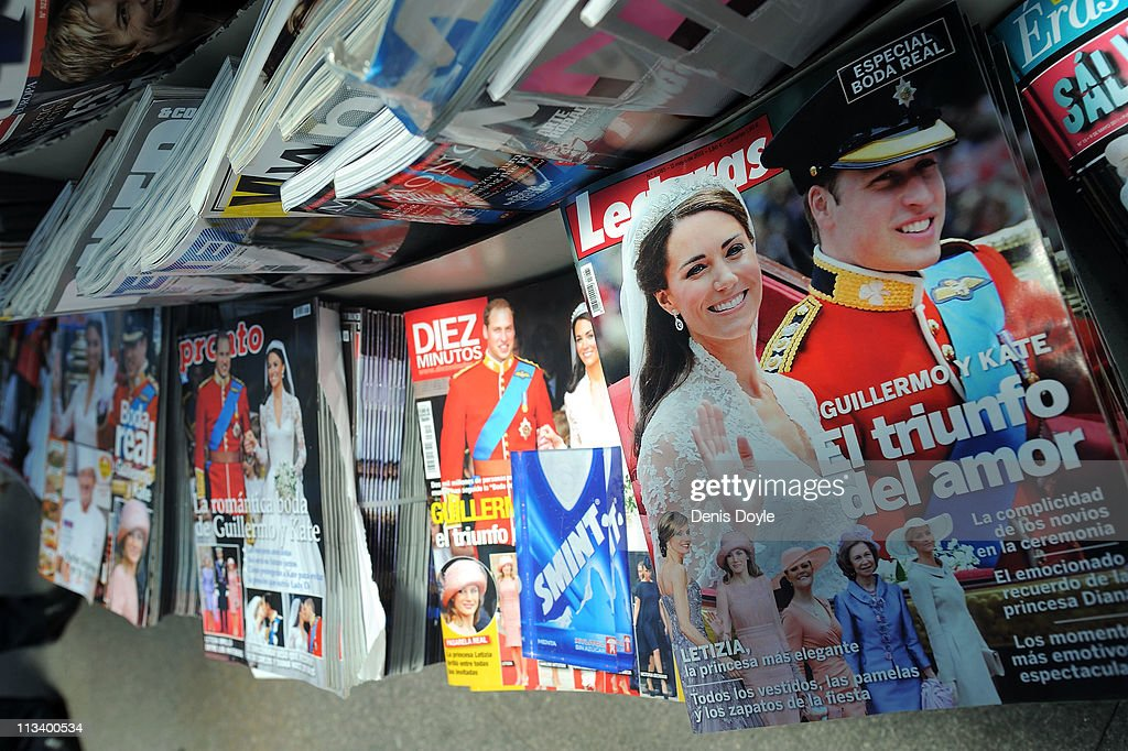 Spanish magazines front covers are show images of the marriage of their Royal Highnesses Prince William, Duke of Cambridge and Catherine, Duchess of Cambridge following their wedding the day before, at a newsstand on May 2, 2011 in Madrid, Spain.