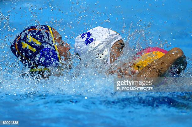 Spanish Maica Garcia fights with Brazilian Cecilia Canetti during the waterpolo group D game Brazil vs Spain on July 23 2009 at the FINA World...