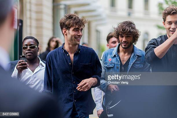 Spanish male model Jon Kortajarena Marlon Teixeira and Brazilian model Francisco Lachowski 'Chico' outside Balmain during the Paris Fashion Week...