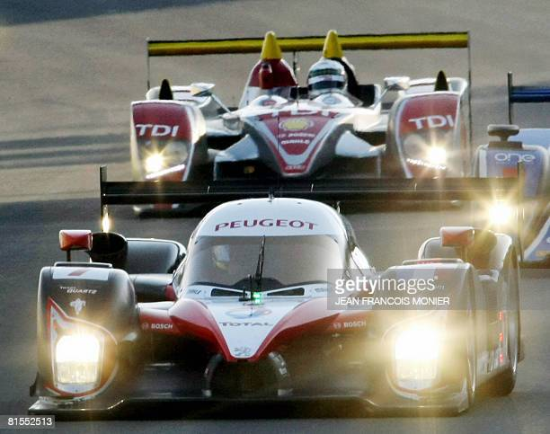 L'ACCIDENT EST DERRIERE MOI Spanish Marc Gene steers his Peugeot 908 HDiFAP n7 followed by Scottich Allan Mc Nish and his Audi R10 diesel prototype...