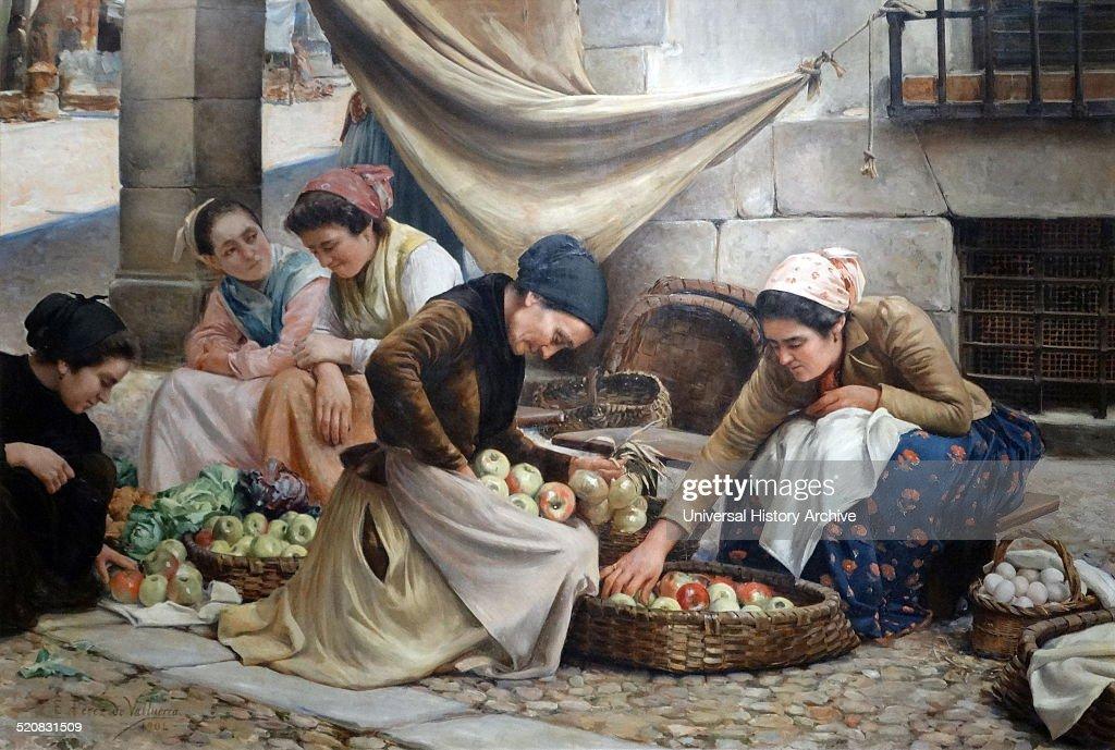 Spanish market women at Bilbao. : Fotografía de noticias