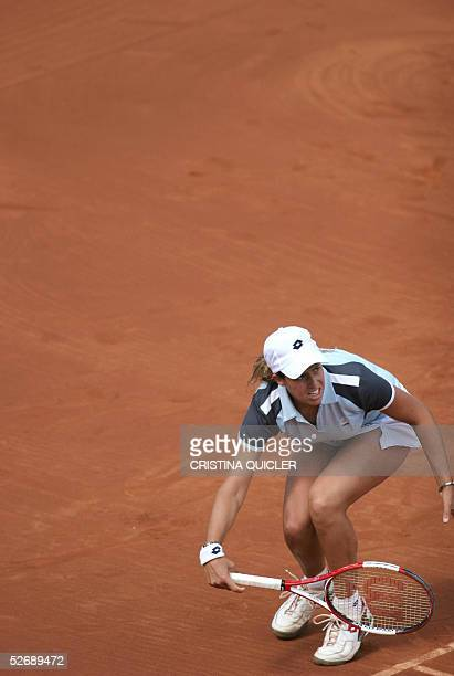 Spanish Marta Marrero loses a point against Argentinian Gisela Dulko during the third match quarter finals of the Fed Cup Spain against Argentina at...