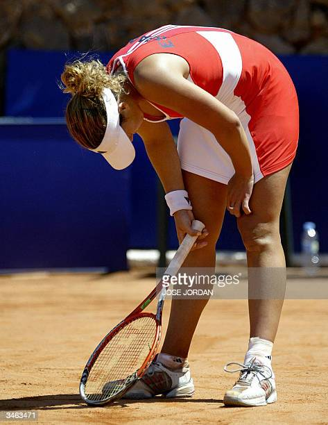 Spanish Marta Marrero reacts after losing a point against Swiss Patty Schnyder during the first match of the Federation cup in La Manga Murcia 24...