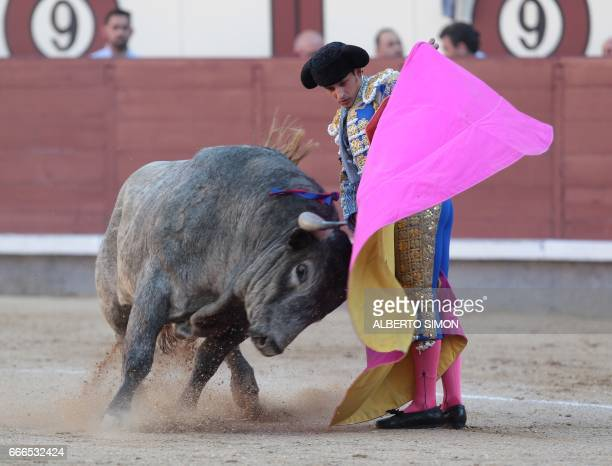 Spanish matador Alberto Aguilar performs a pass on a bull during the Domingo de Ramos bullfight at Las Ventas bullring in Madrid on april 9 2017 /...