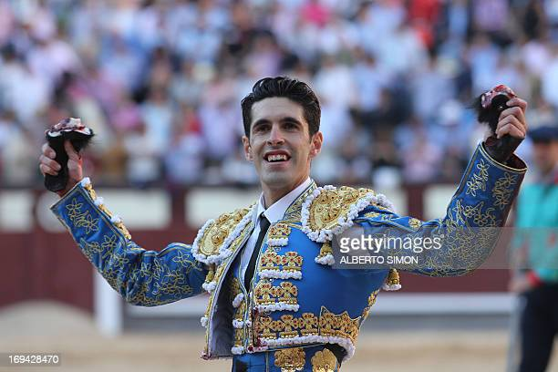 Spanish matador Alejandro Talavante celebrates during a bullfight of the San Isidro Feria at the Las Ventas bullring in Madrid on May 24 2013 AFP...
