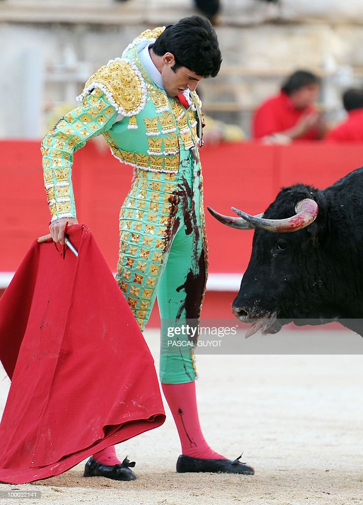 Spanish matador Alejandro Talavante performs a muleta on a Nunez del Cuvillo bull, on May 20, 2010, during the Nimes Feria Bullfighting Festival (Feria de la Pentecote). during the Nimes' Pentecost Feria, southern France.