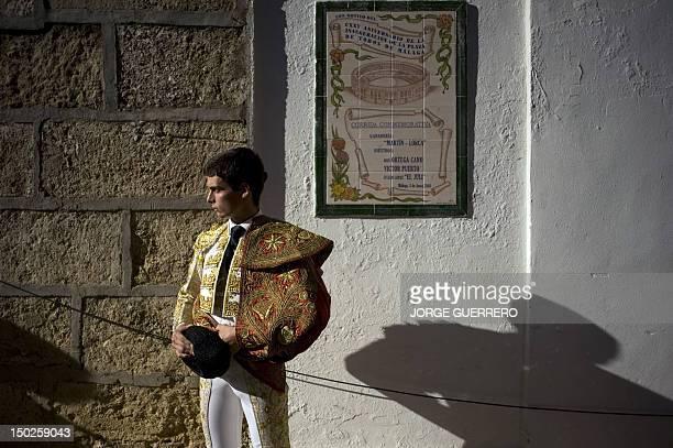 Spanish matador David Galvan prepares himself prior to a corrida at the Malagueta Bullring in Malaga on August 13 2012 AFP PHOTO/ JORGE GUERRERO