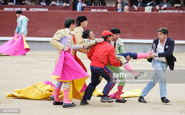 Spanish matador David Mora is gored by a bull during the San Isidro Fair at Las Ventas bullring on May 20 2014 in Madrid Spain For the first time...
