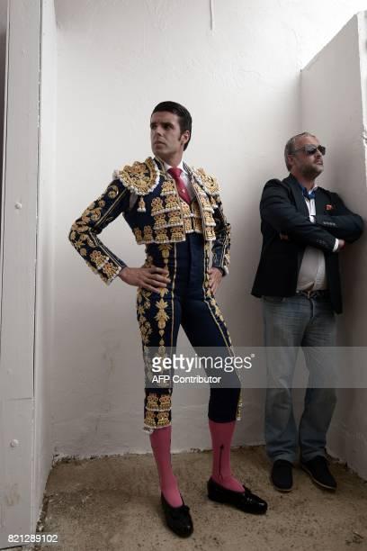 Spanish matador Emilio de Justo stands before a bullfighting at Plumacon arena in Mont de Marsan during the festival of La Madeleine southwestern...