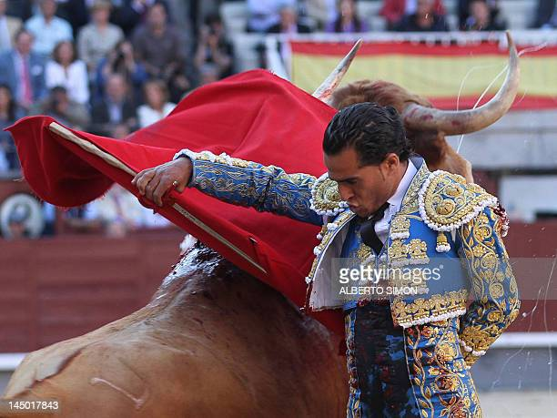 Spanish matador Ivan Fandino makes a pass to a bull at the Las Ventas bullring during the San Isidro Feria on May 22 in Madrid AFP PHOTO / ALBERTO...