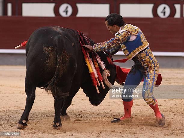 Spanish matador Ivan Fandino makes a pass to a bull at the Las Ventas bullring during the San Isidro Feria on May 22 in Madrid AFP PHOTO / ALBERTO...