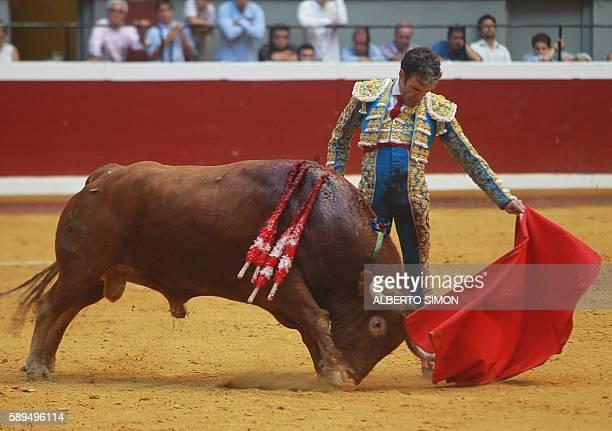 Spanish matador Jose Tomas performs a pass to a bull during the Semana Grande Feria at Illumbe bullring on August 14 2016 / AFP / ALBERTO SIMON