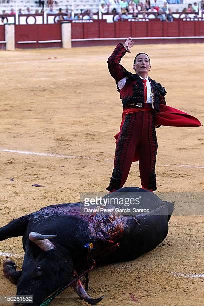 Spanish matador Mari Paz Vega during a bullfight at the Malagueta Bullring on August 13 2012 in Malaga Spain