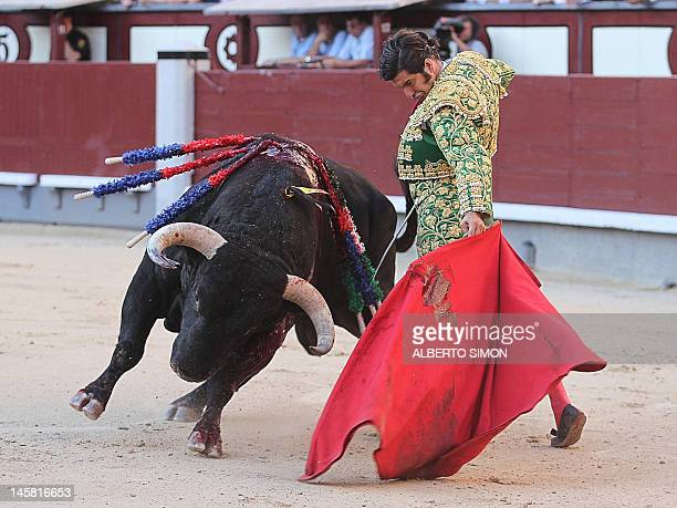 Spanish matador Morante de la Puebla makes a pass to a bull at the Las Ventas bullring during the Arte y Cultura Feria on June 6, 2012 in Madrid. AFP...