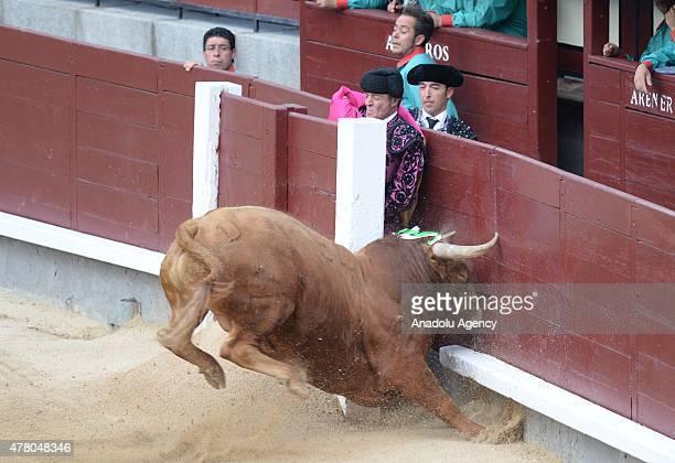 Spanish matador performs a pass during a bullfight show at Las Ventas bullring in Madrid on June 21 2015