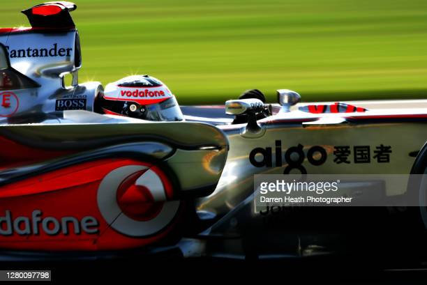 Spanish McLaren Formula One driver Fernando Alonso driving his McLaren MP4-22 car during practice for the 2007 United States Grand Prix held on the...