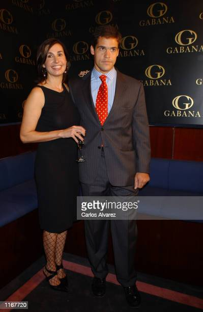 Spanish members of the jet set Carmen Rossi and her son Luis Alfonso de Borbon attend a dinner organized by Club Gabana October 16 2001 in Madrid...