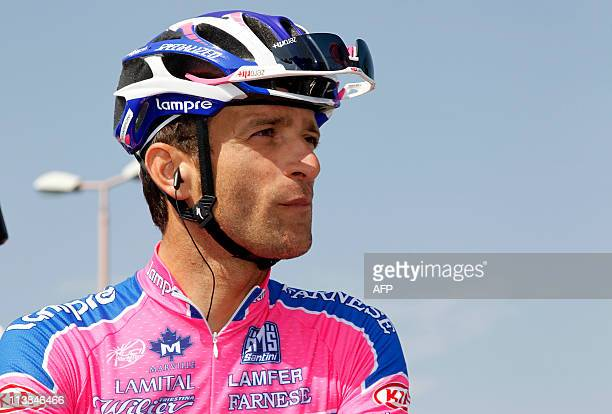 Spanish Michele Scarponi of the Lampre team prepares to take part in the second stage of the 94th Tour of Italy run from Alba to Parma on May 8 2011...