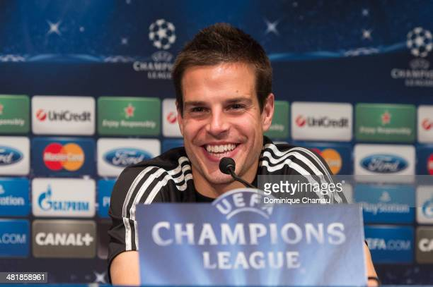 Spanish midfielder Cesar Azpilicueta speaks to the media during a press conference on the eve of the UEFA Champions League match between Paris...