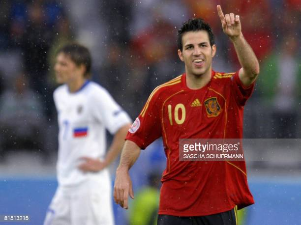 Spanish midfielder Cesc Fabregas celebrates after scoring the fourth goal for his team during the Euro 2008 Championships Group D football match...